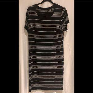 Ava & Viv Size X Black and White Stripe Tee Dress
